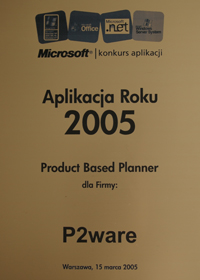 Product Based Planner - Application of the year 2005
